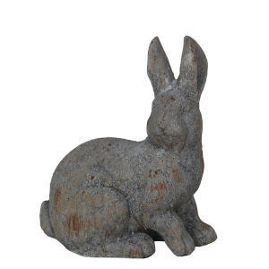 Rusted Gray 7-Inch Ceramic Bunny Figurine