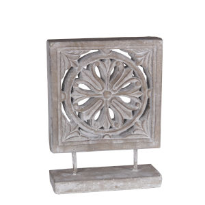 Gray 5-Inch Ceramic Flower Decorative Object