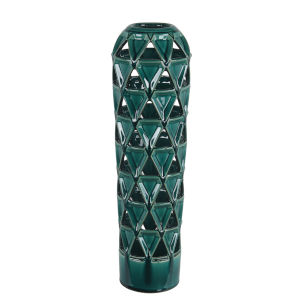 Pierced Green 7-Inch Ceramic Vase