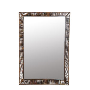 Natural and Black Rattan 5-Inch Wall Mirror