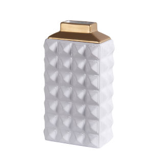 White and Gold 12-Inch Ceramic Vase
