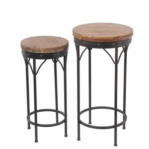 Block Top Round Plant Stands, Set of two