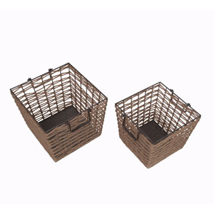 Brown Square Baskets, Set of Two