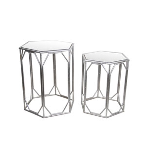 Silver Iron and Glass Accent Tables, Set of Two
