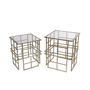 Gold Iron and Glass Accent Tables, Set of Two