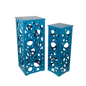 Blue Cut Out Tall Tables, Set of Two