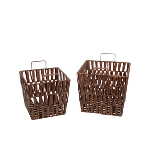 Brown Square Wicker Baskets, Set of Two