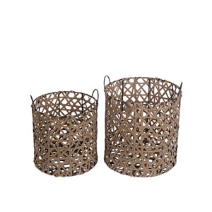 Brown Round Wicker Baskets, Set of Two