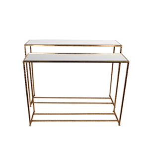 Gold Iron and Glass Tables, Set of 2