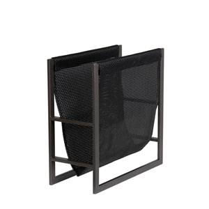 Black Iron and Wicker Magazine Rack
