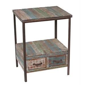 Two-Drawer Iron and Wood Table