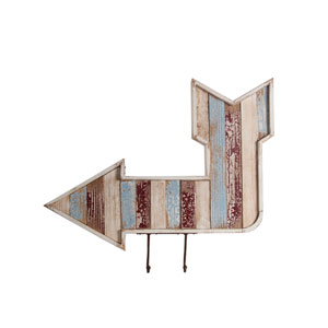 Brown Wooden Wall Arrow with Hooks