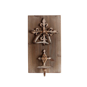 Brown Iron and Wood Wall Candleholder