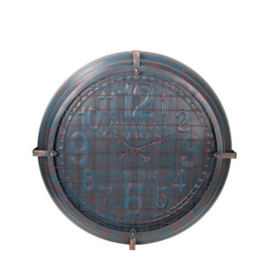 Blue Metal Wall Clock