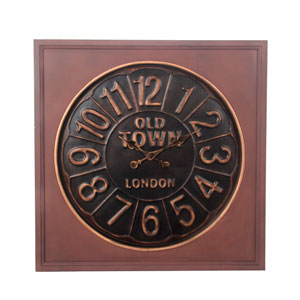 Brown Metal and Wood Wall Clock