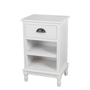 Pure White One-Drawer Two-Shelf Storage Unit