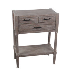 Elegant Home Fashions Avery Oak Linen Cabinet With One