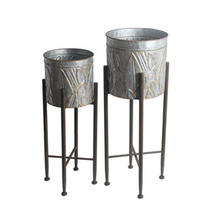 Galvanized Gray Plant Stands, Set of Two