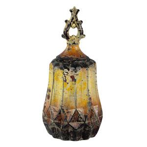 Aged Yellow Medium Ceramic Vase