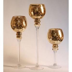 Amber Mercury Glass Stem Vases, Three Piece Set