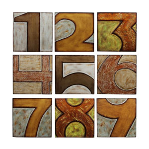 Brown Wood Numbered Wall Decor, Set of Nine