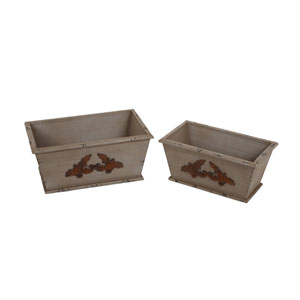 Brown Wooden Containers, Set of Two