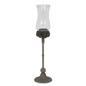 Gray Small Iron and Glass Candleholder