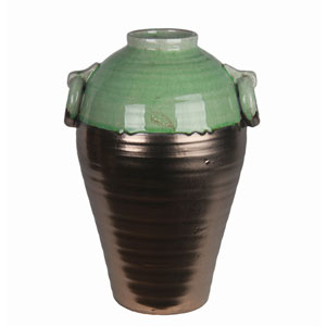 Copper and Green Small Ceramic Jar with Handles