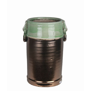 Copper and Green Large Ceramic Jar with Handles