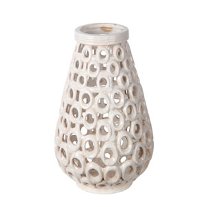 White Small Beige Cut Out Ceramic Vase