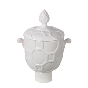 White Small Ceramic Vase with Lid