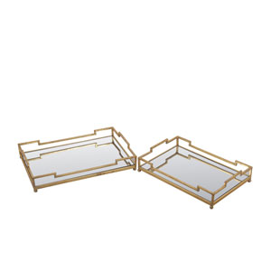 Gold Leaf Trays, Set of Two