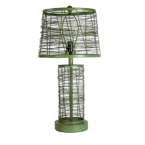 Green One-Light 27-Inch Tall Iron Table Lamp