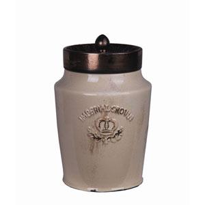 Cream and Gold Medium Ceramic Jar with Lid