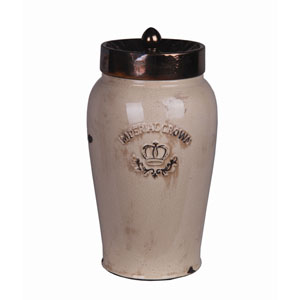 Cream and Gold Large Ceramic Jar with Lid