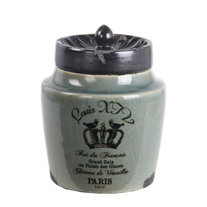 Green Small Louis XIV Ceramic Jar with Lid