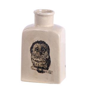 Cream Small Owl Ceramic Vase