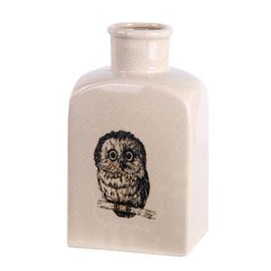 Cream Large Owl Ceramic Vase