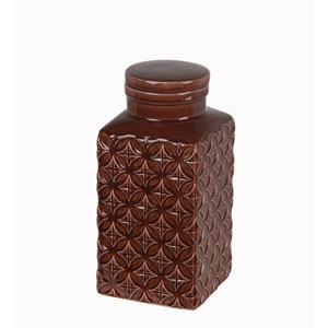Brown Small Ceramic Jar with Lid