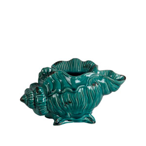 Turquoise 12-Inch Ceramic Seashell