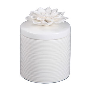 White Large Ceramic Jar with Flower Lid