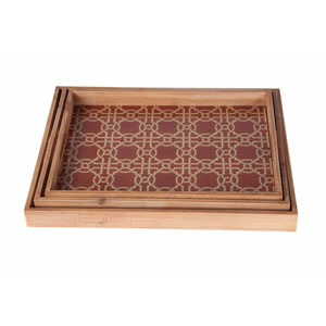 Brown Wooden Tray, Set of Three