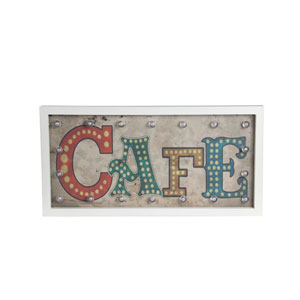 Multicolor Cafe LED Wooden Wall Decor