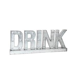 Silver Drink LED Metal Word Board