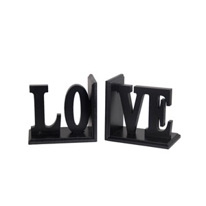 Black Love Wooden Bookends, Set of Two