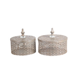 Silver Metal Boxes, Set of Two