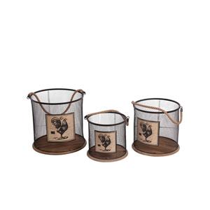 Black and Brown Round Iron Baskets, Set of Three