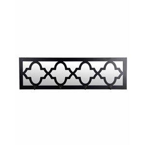 Black Four-Hook Rectangular Wall Mirror