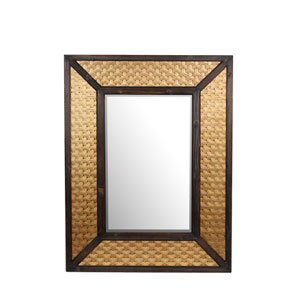 Brass Wood and Metal Rectangular  Mirror