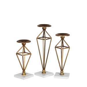 Brass Candleholders, Set of Three
